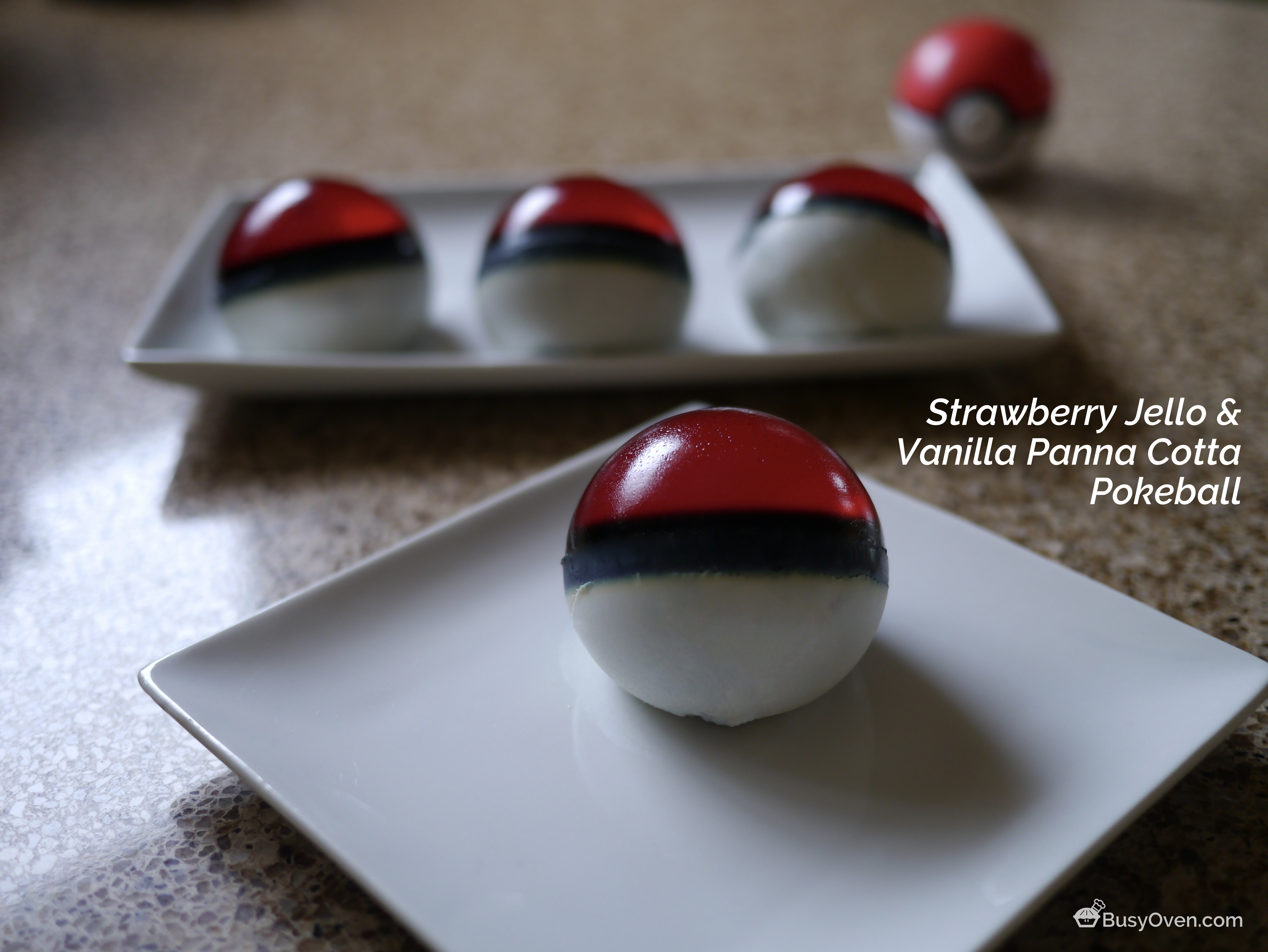 Strawberry Jello and Vanilla Panna Cotta Pokeball